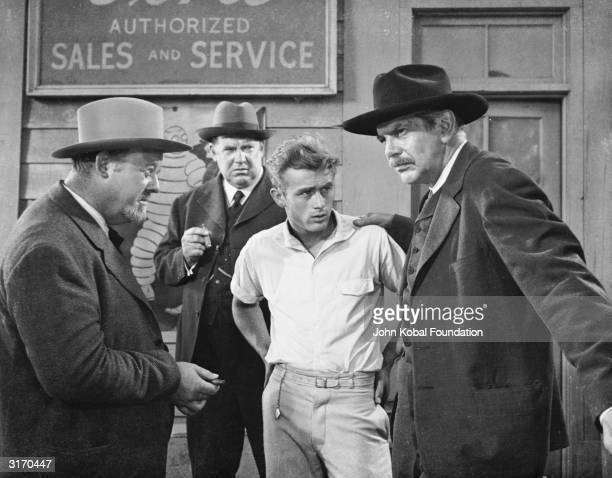 From left to right Burl Ives Hal Taggart James Dean and Raymond Massey star in 'East of Eden' directed by Elia Kazan and based on the novel by John...