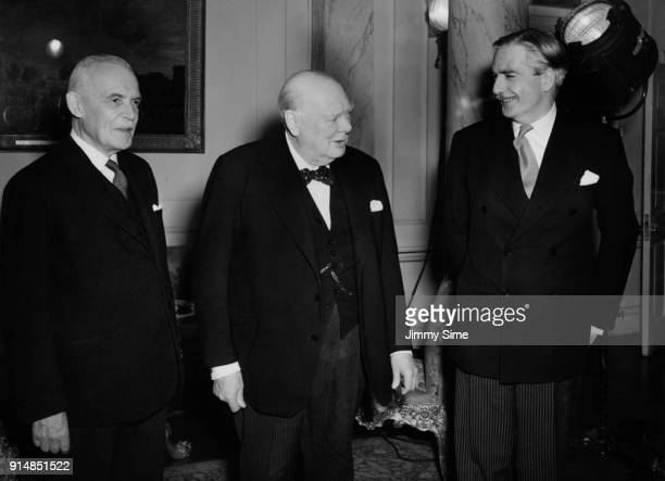 From left to right Canadian Prime Minister Louis St Laurent British Prime Minister Winston Churchill and British Foreign Secretary Anthony Eden at 10...