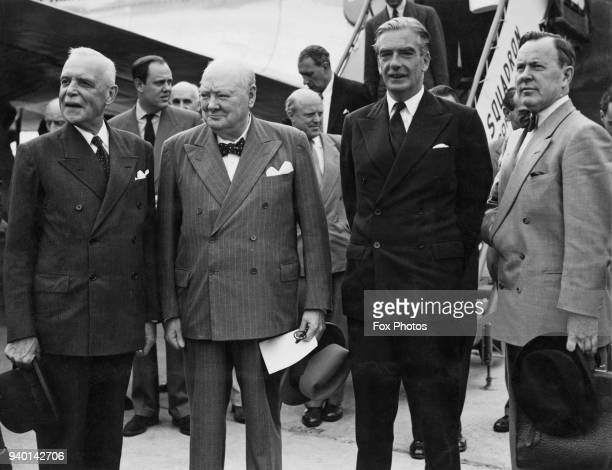 From left to right Canadian Prime Minister Louis St Laurent British Prime Minister Winston Churchill Foreign Secretary Anthony Eden and Lester B...