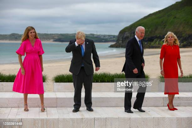 From left to right, Carrie Johnson, wife of U.K. Prime Minister Boris Johnson, Boris Johnson, U.K. Prime minister, U.S. President Joe Biden, second...