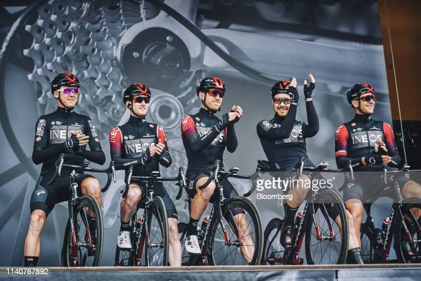 From left to right Chris Froome fourtime Tour de France champion Eddie Dunbar Chris Lawless Owain Doull and Ian Stannard cyclists for Team Ineos...