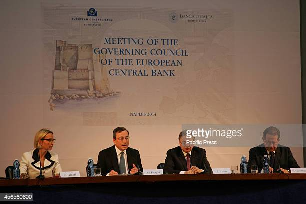 From left to right Christine Graeff Mario Draghi Ignazio Visco and Vítor Constâncio during the European Central Summit at Naples The ECB Governors...