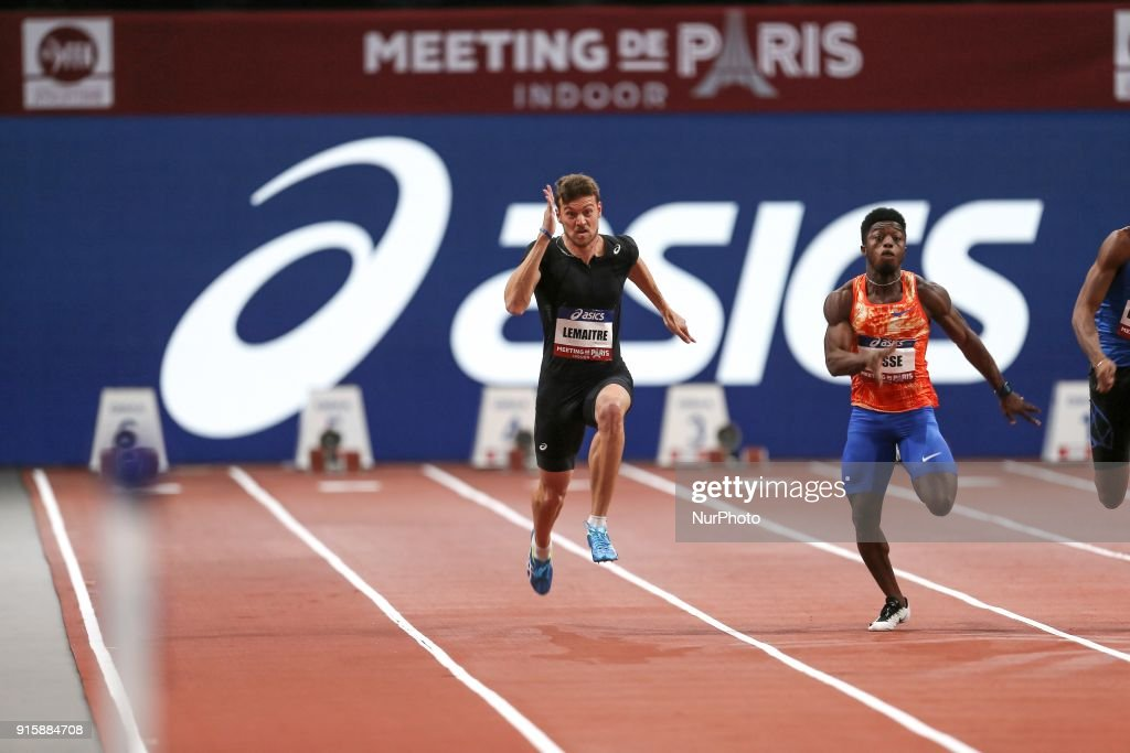 Christophe Lemaitre of France and Gue Arthur Cisse of Ivory Coast compete in 60m during the Athletics Indoor Meeting of Paris 2018, at AccorHotels Arena (Bercy) in Paris, France on February 7, 2018.