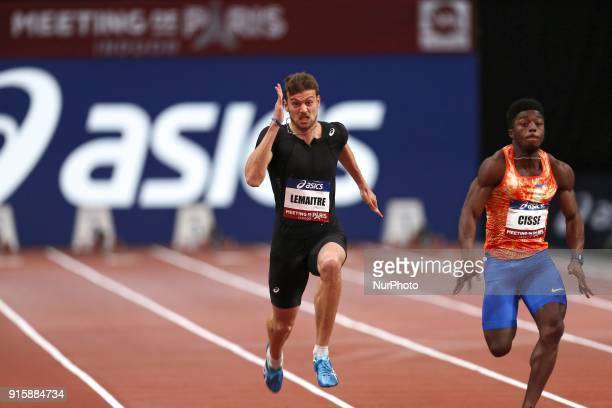 Christophe Lemaitre of France and Gue Arthur Cisse of Ivory Coast compete in 60m during the Athletics Indoor Meeting of Paris 2018 at AccorHotels...