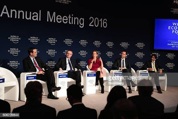 From left to right Chuck Robbins chief executive officer of Cisco Technologies Inc Pierre Nanterme chief executive officer of Accenture Plc Susan...