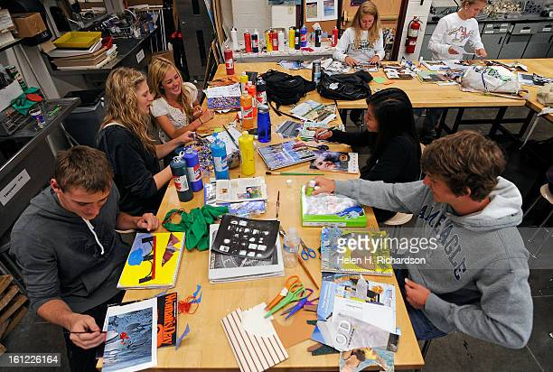 From left to right clockwise Alec Comito Jen PakieserBrooke Werner Whitney Nghiem 17 and Ethan Choun work on a dream landscape project in their...