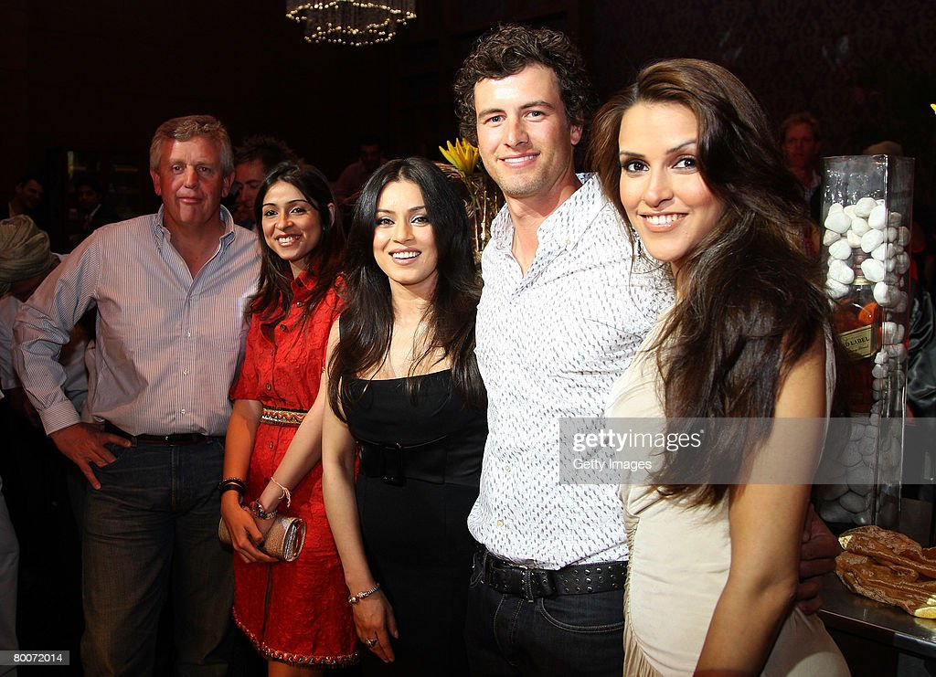 from left to right Colin Montgomerie of Scotland Bollywood Actress Mahima Chaudhary Adam Scott of Australia and Bollywood Actress Neha Dhupia during..