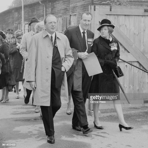From left to right Conservative MP Airey Neave and wartime intelligence officers Geoffrey Hallowes and his wife Odette Hallowes formerly Churchill...