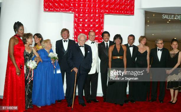 From left to right Corinne Coman Miss France 2003 Princess Ann de Massy daughter of Princess Antoinette Princess Caroline of Hanovre and her husband...