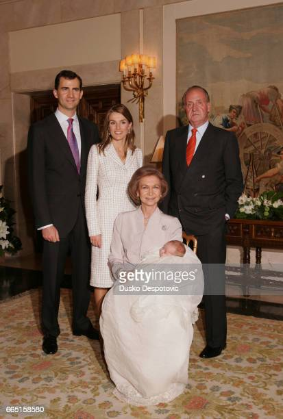 Crown Prince Felipe, Princess Letizia Ortiz, King Juan Carlos and his wife Queen Sofia, holding grand-daughter Infanta Leonor following the baptism...