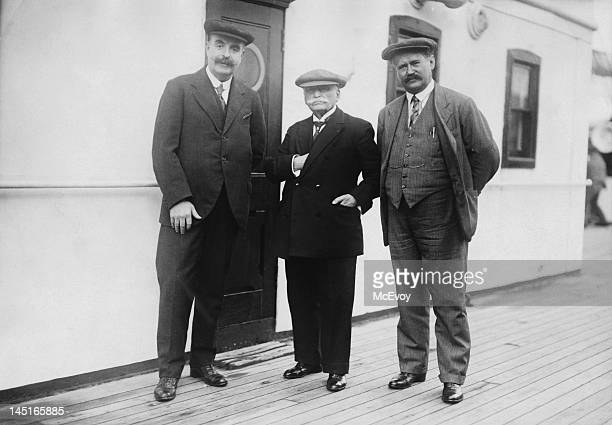 From left to right David Bland of the Cunard liner 'RMS Aquitania' French chef Auguste Escoffier and Mr Bertrand of Cunard 3rd November 1926