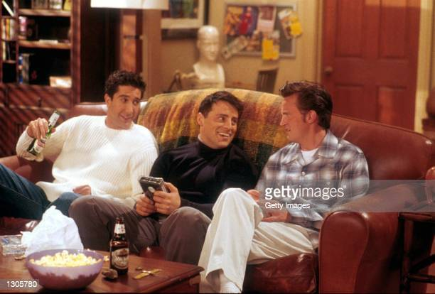 From left to right David Schwimmer as Ross Matt LeBlanc as Joey and Matthew Perry as Chandler act in a scene from the television comedy Friends...