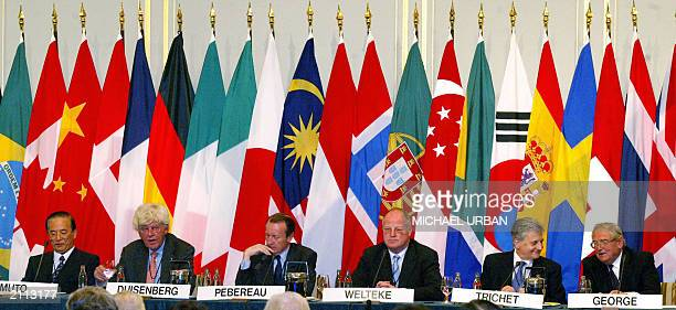 Deputy Governor of the Bank of Japan Toshiro Muto President of the Europen Central Bank Wim Duisenberg Chairman of the French bank BNPParibas Michel...
