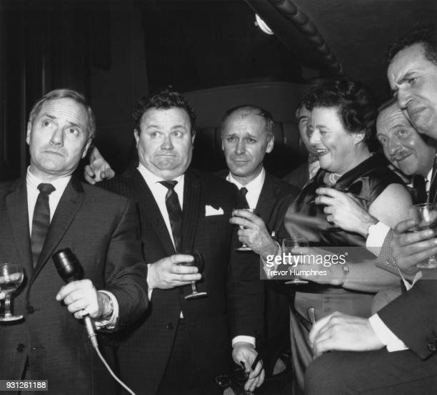 From left to right Dick Emery Harry Secombe Bill Kerr Sheila Van Damm Arthur Haynes and Michael Bentine at a party to mark the final show at the...