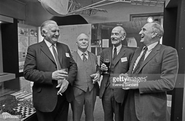 From left to right, Dick Howe , Pat Reid , Rupert Barry and Jack Best, former prisoners-of-war from Colditz Castle, visit the new Coldtiz exhibition...