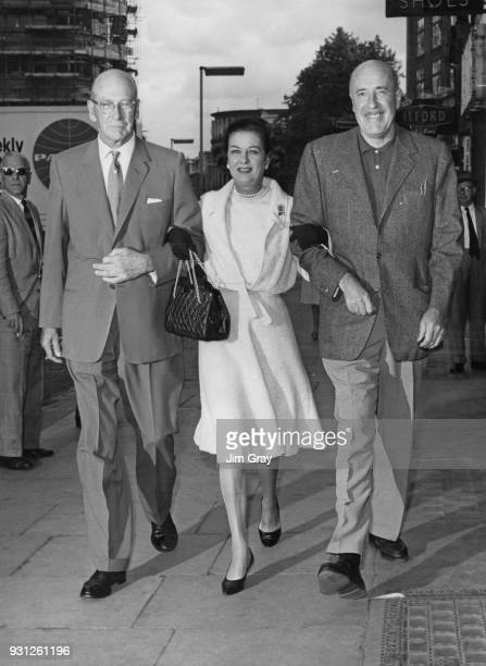 From left to right director George Abbott American actress Joan Bennett and actor Fred Clark who are collaborating in the comedy 'Never Too Late' at...