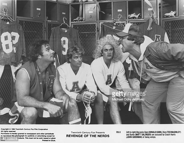From left to right Donald Gibb Ted McGinley and Matt Salinger face the scorn of their coach played by John Goodman in the film 'Revenge of the Nerds'
