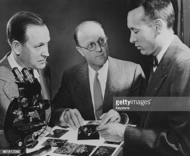 From left to right, Dr Herbert M. Strong, Dr Chauncey Guy Suits , Vice President and Director of Research at General Electric, and Dr H. Tracy Hill...