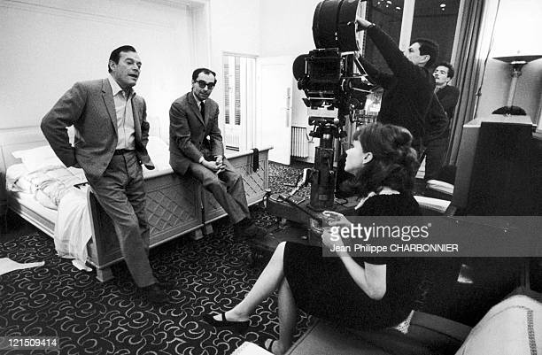 From Left To Right Eddie Constantine JeanLuc Godard And Anna Karina