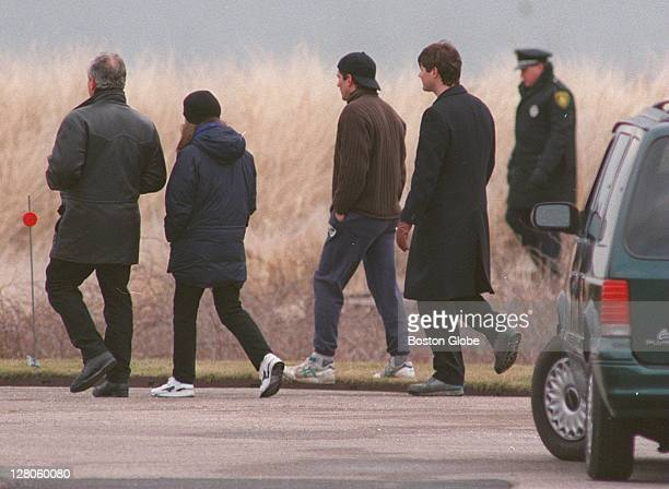 From left to right Edward and Caroline Schlossberg John Kennedy Jr William Kennedy Smith and an unidentified State Trooper