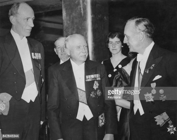 From left to right Edward Wood 1st Earl of Halifax Charles Edward Duke of SaxeCoburg and Gotha and German Ambassador Joachim von Ribbentrop during an...