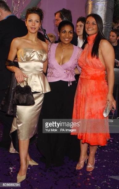From left to right Ela Kay Eva Fontaine and Natalie Robb from BBC soap Doctors arrive for the British Soap Awards 2003 at BBC Television Centre in...