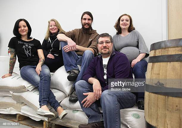 From left to right: Emma Thurston, Alison DeWolfe, Alex Thurston, Jeremy Gotsch and Jessica Gotsch, owners of Damnation Alley Distillery in Belmont,...