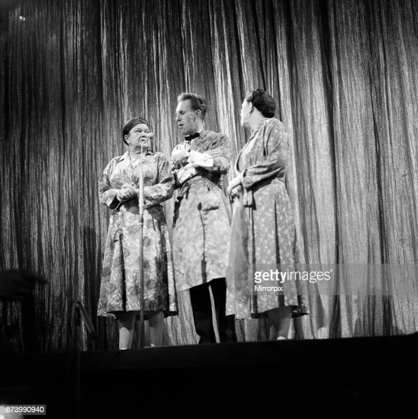 From left to right Ena Sharples Bruce Forsyth and Peggy Mount during rehearsals for the Daily Mirror Television Award show 29th July 1962