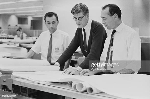 From left to right engineers Geoff Banks George Allen and Peter Fruin at the Boeing plant in America 16th October 1967 Engineers and scientists are...
