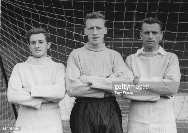 From left to right England players Jeff Hall a Birmingham City right back Ron Baynham a Luton Town goalkeeper and Geoff Bradford a Bristol Rovers...