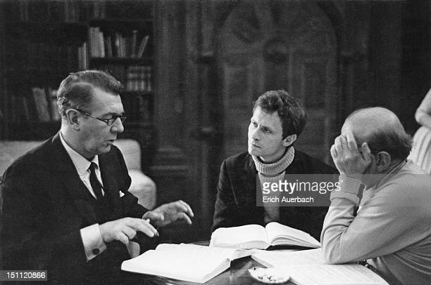 From left to right, English actor and director Sir Michael Redgrave talking to John Cox and Jani Strasser in the Organ Room at Glyndebourne, East...