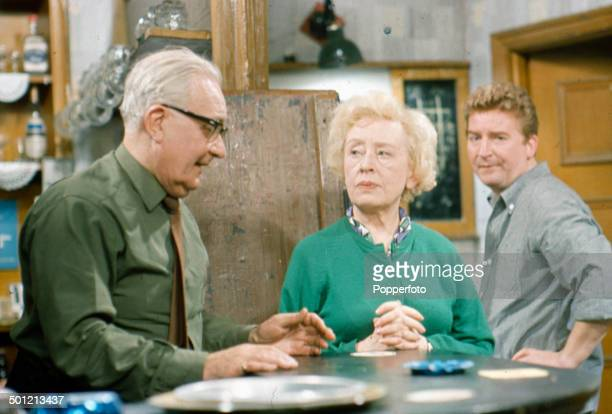 From left to right English actors Arthur Leslie as 'Jack Walker' Doris Speed as 'Annie Walker' and Peter Adamson as 'Len Fairclough' pictured...