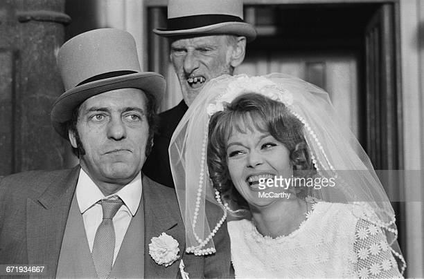 From left to right English actors Harry H Corbett Wilfrid Brambell and Carolyn Seymour filming a movie spinoff of the British television sitcom...