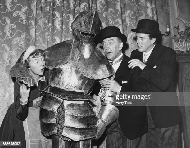 From left to right English actress Dora Bryan actor Leo Franklyn and actor Brian Rix during rehearsals for the play 'Wanted One Body' at the...