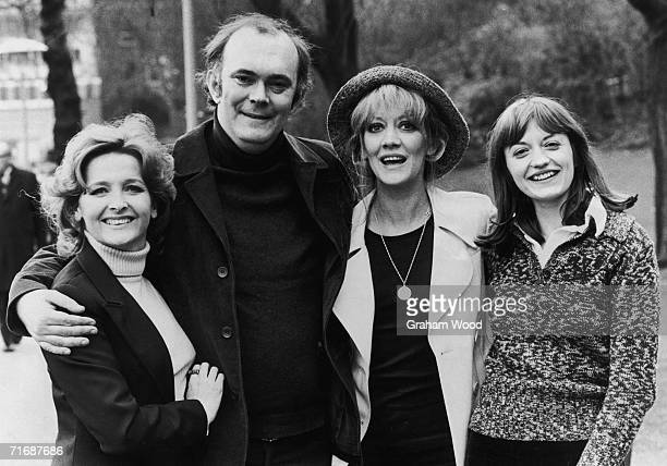 From left to right, English actress Millicent Martin, playwright Alan Ayckbourn, and actresses Amanda Barrie and Stephanie Turner, January 1975. The...