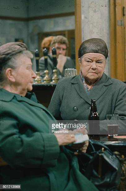From left to right English actresses Margot Bryant as 'Minnie Caldwell' and Violet Carson as 'Ena Sharples' pictured together in a Rovers Return Inn...