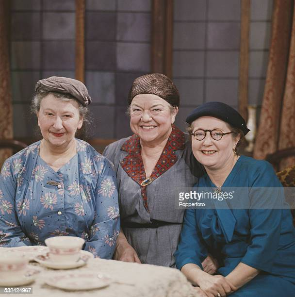 English actresses Margot Bryant Violet Carson and Lynne Carol posed together in character as Minnie Caldwell Ena Sharples and Martha Longhurst on the...