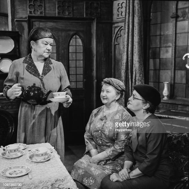 English actresses Violet Carson Margot Bryant and Lynne Carol pictured together in character as Ena Sharples Minnie Caldwelll and Martha Longhurst...