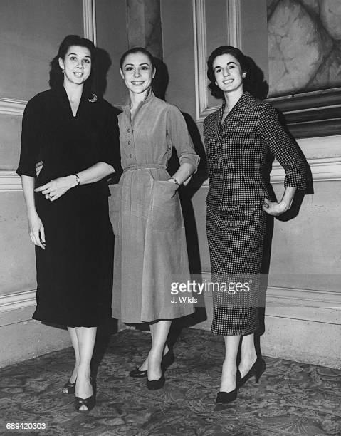 From left to right English ballerina Beryl Grey Lithuanianborn British ballerina Svetlana Beriosova and New Zealand ballerina Rowena Jackson in the...