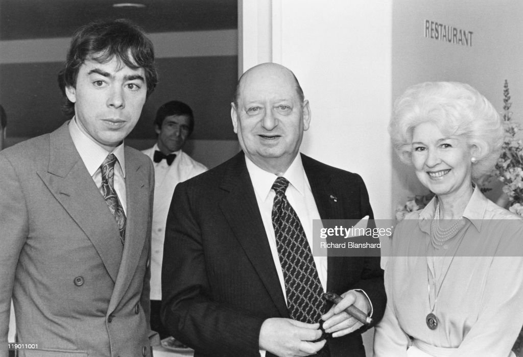 From left to right, English composer Andrew Lloyd Webber with media mogul Lew Grade (1906 - 1998) and his wife Kathleen Grade, circa 1984. Grade produced Lloyd Webber's musical 'Starlight Express'.