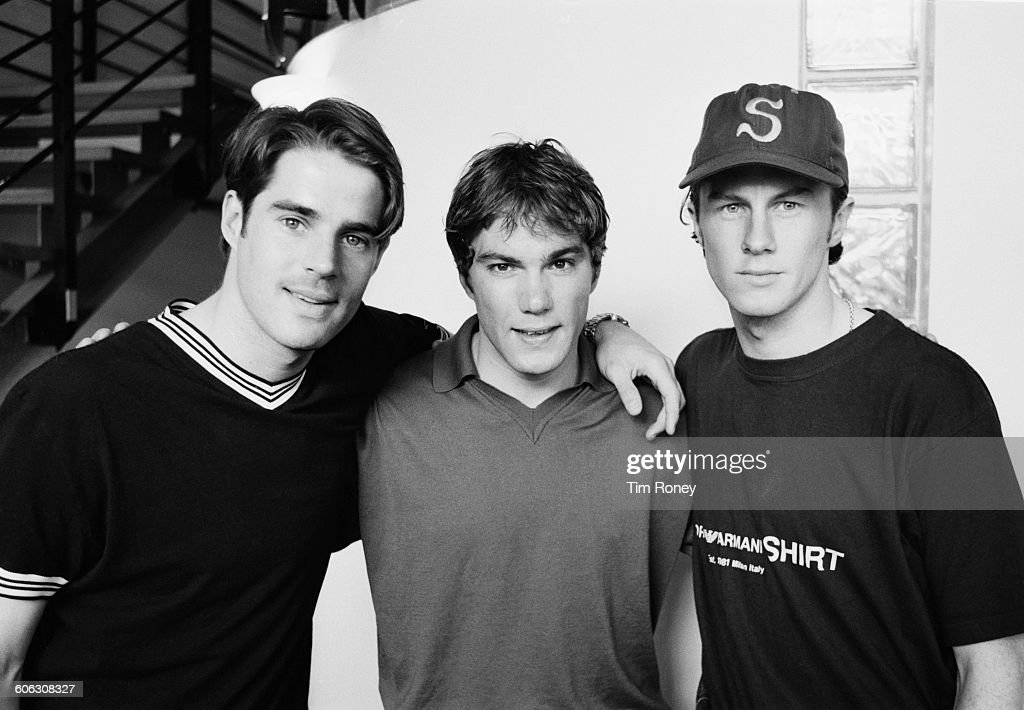 From left to right, English footballers Jamie Redknapp, Jason McAteer and Steve McManaman of Liverpool FC, UK, 18th April 1996.
