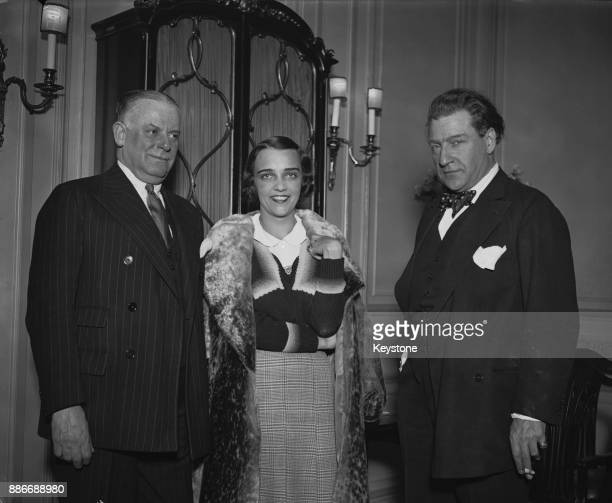 From left to right English impresario Charles B Cochran French actress Jacqueline Delubac and actor Sacha Guitry at the Savoy Hotel in London 4th...