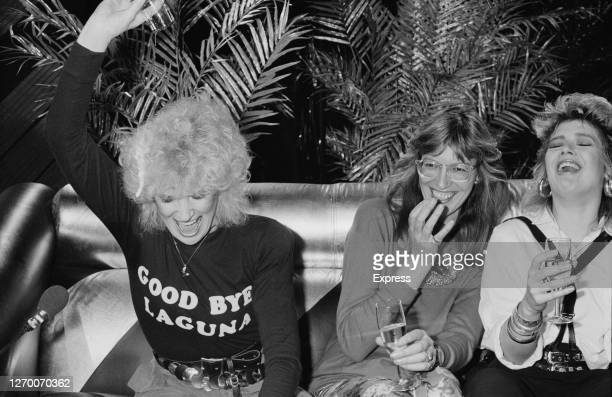 From left to right English singer Dusty Springfield Janet StreetPorter and Kim Wilde on the ITV television show 'Saturday Night Out' at the...
