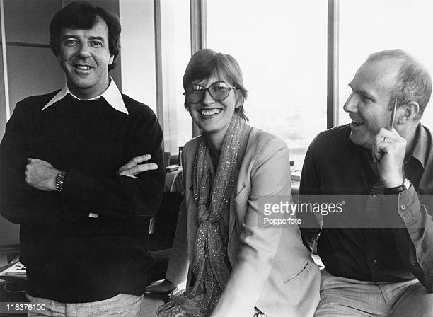 From left to right English television presenters Russell Harty and Janet StreetPorter and Australian broadcaster Clive James the presenters of TV...