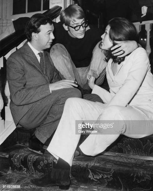 From left to right English theatre director Peter Hall managing director of the Royal Shakespeare Company with actors David Warner and Diana Rigg...