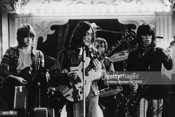 From left to right, Eric Clapton, John Lennon and Keith Richards performing together at the Rolling Stones Rock And Roll Circus, Internel Studios in...