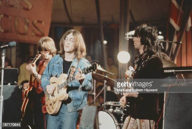 Eric Clapton, John Lennon and Keith Richards perform live on stage as The Dirty Mac on the set of the Rolling Stones Rock and Roll Circus at Intertel...