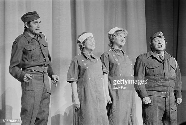 From left to right Eric Sykes Beryl Reid Joan Sims and Harry Secombe star in the variety show 'Fall in the Stars' in aid of the Army Benevolent Fund...