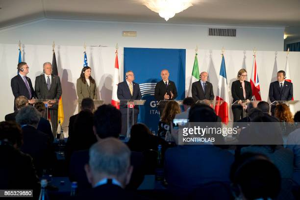 From left to right EU Commissioner for Security Union Julian King US Acting Secretary of the Department of Homeland Security Elaine Duke Canadian...