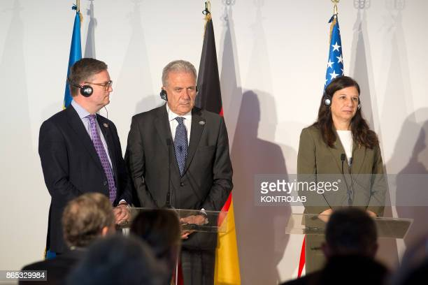 From left to right EU Commissioner for Security Union Julian KingEU Commissioner for Migration Home Affairs and Citizenship Dimitri Avramopoulos and...